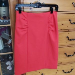 Nanette lepore ruched pencil skirt red size 6